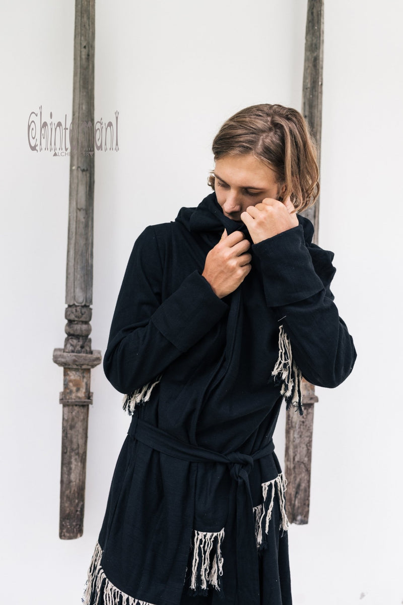 Long Linen & Silk Coat for Men / Boho Hooded Cardigan / Black - ChintamaniAlchemi