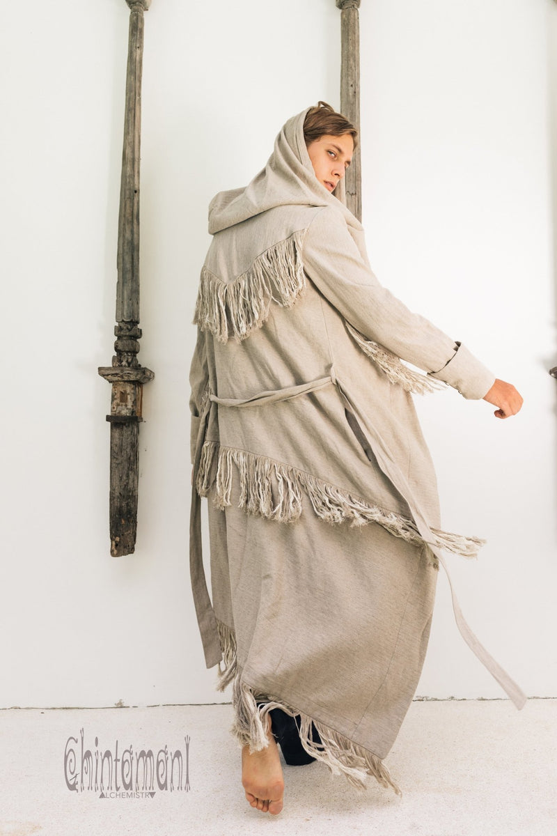 Long Linen & Silk Coat for Men / Boho Hooded Cardigan / Gray - ChintamaniAlchemi