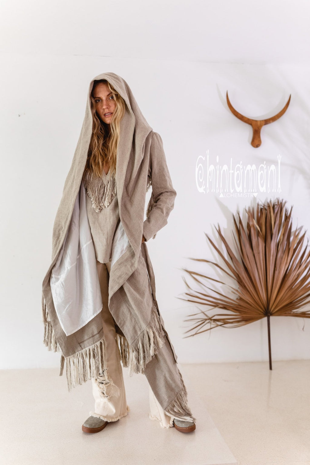 Long Linen & Silk Coat for Women / Boho Hooded Cardigan / Gray - ChintamaniAlchemi