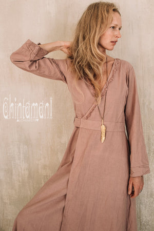 Maxi Kimono Wrap Dress with Fringes & Long Sleeves / Atua Tino / Dusty Rose - ChintamaniAlchemi