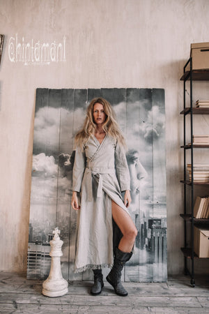 Maxi Kimono Wrap Dress with Fringes & Long Sleeves / Atua Tino / Grey - ChintamaniAlchemi