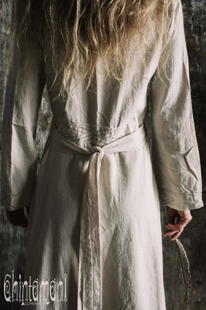 Maxi Kimono Wrap Dress with Fringes & Long Sleeves / Atua Tino / Off White - ChintamaniAlchemi
