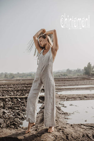 Maxi Linen Jumpsuit for Women / Overall Romper with Back Zip / Grey - ChintamaniAlchemi
