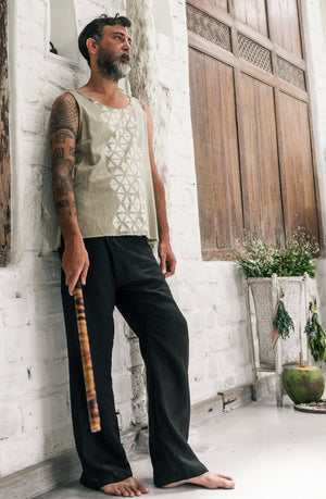 Mens Linen Wrap Pants / Loose Fitting Lounge Boho Trousers / Black - ChintamaniAlchemi