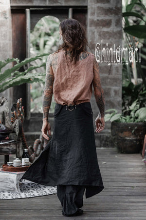 Mens Linen Wrap Pants with Skirt Overlay and Pocket Belt / Black - ChintamaniAlchemi