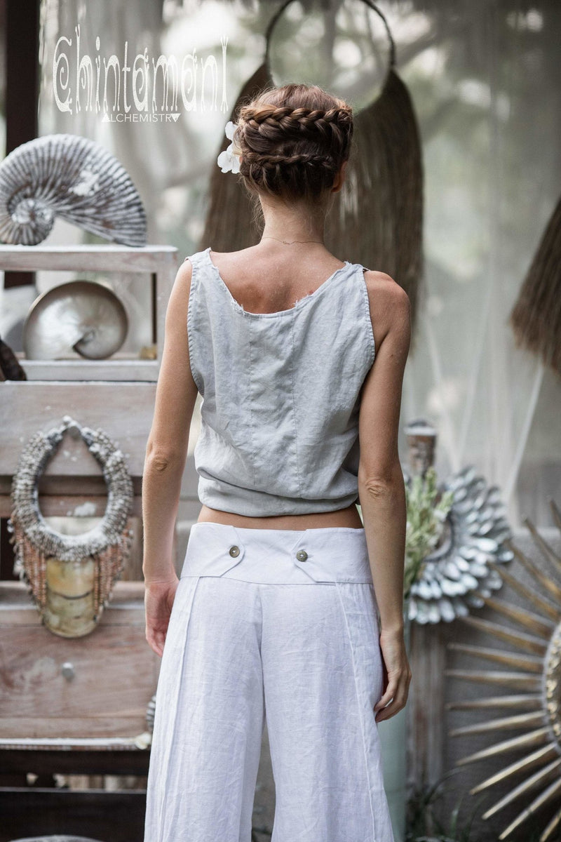 Minimalist Linen Tank Top / Organic Tunic Blouse / Light Grey - ChintamaniAlchemi