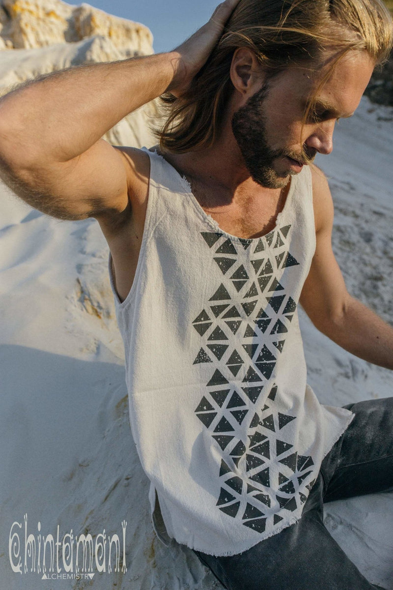 Nomad Cotton Tank Top for Men with Geometric Screen Print / Off White - ChintamaniAlchemi