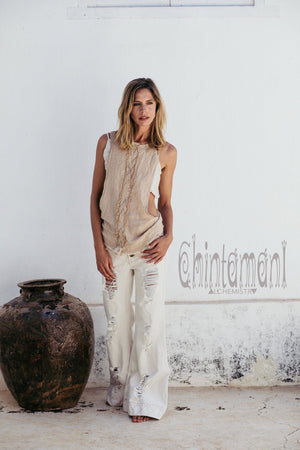 Open Sides Raw Cotton Boho Top / Tribal Organic Blouse / Beige - ChintamaniAlchemi