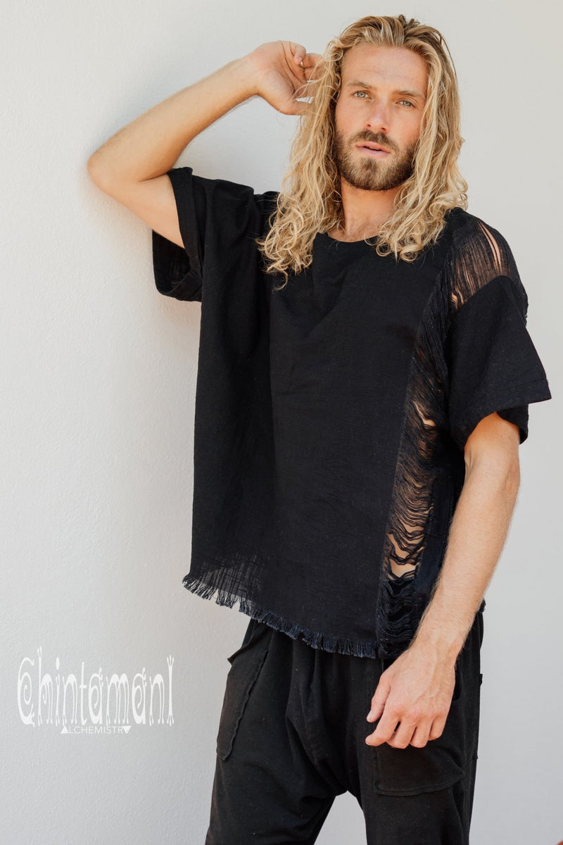 Organic Cotton Black Tshirt / Ripped Tee Shirt for Men / Gypsy T-Shirt by Chintamani - ChintamaniAlchemi