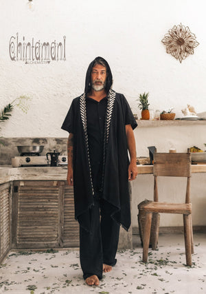 Organic Cotton Hooded Shirt for Men / Nomad Ripped Tunic / Black - ChintamaniAlchemi