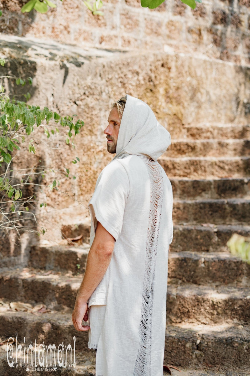Organic Cotton Hooded Shirt for Men / Nomad Ripped Tunic / Gray - ChintamaniAlchemi