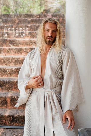 Organic Cotton Kimono Robe / Cardigan for Men / Gray - ChintamaniAlchemi
