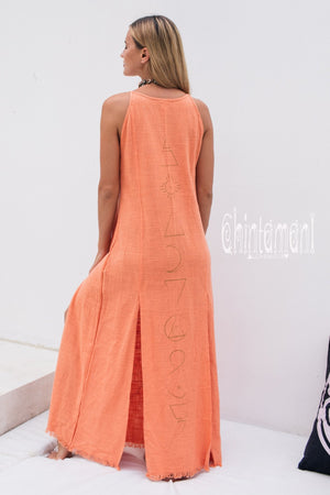 Organic Cotton Long Dress with Side Slit / Alchemy Coral - ChintamaniAlchemi