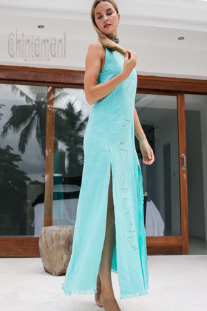 Organic Cotton Long Dress with Side Slit / Alchemy Turquoise - ChintamaniAlchemi
