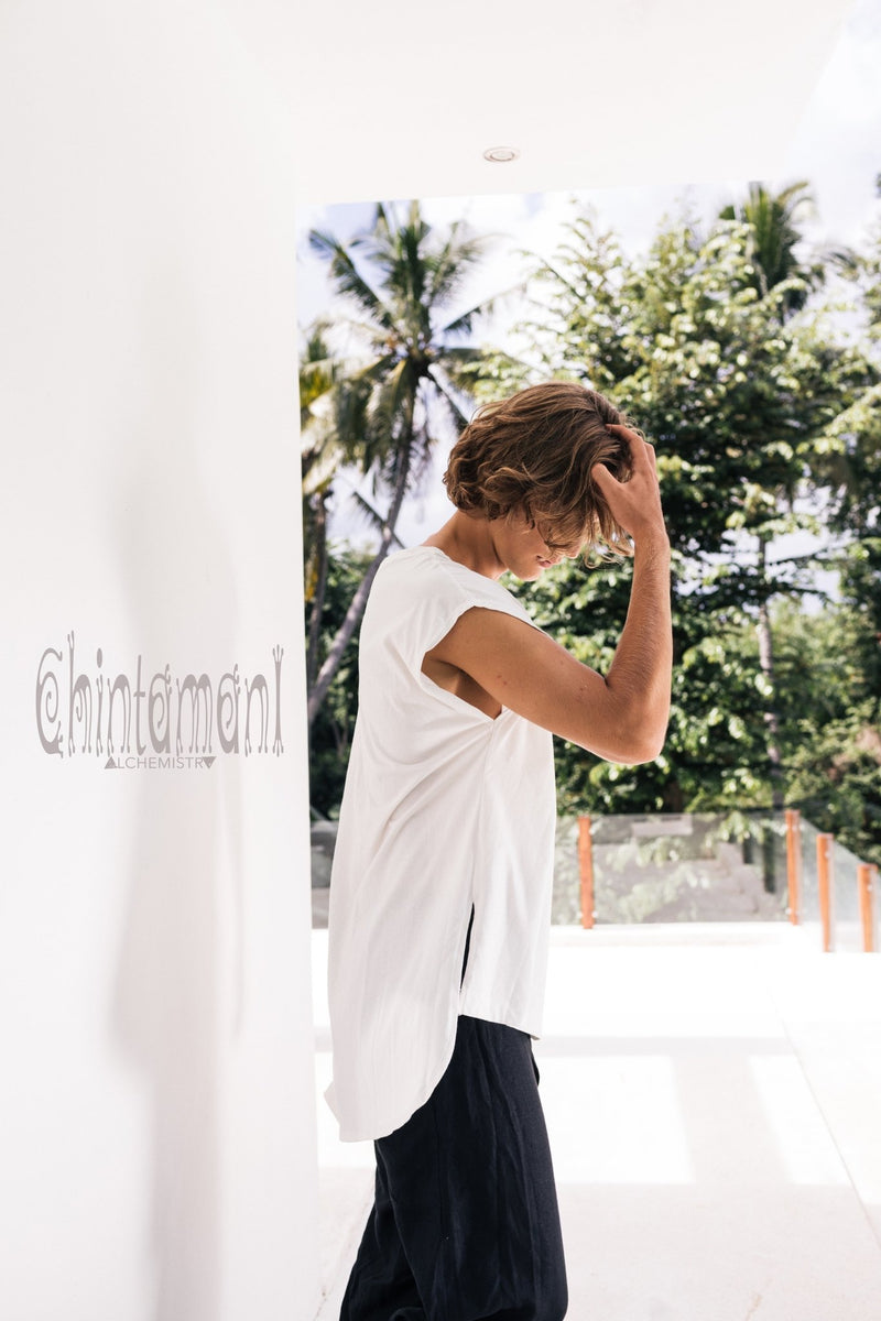 Organic Cotton Tshirt / Mens Comfy Tee / White - ChintamaniAlchemi
