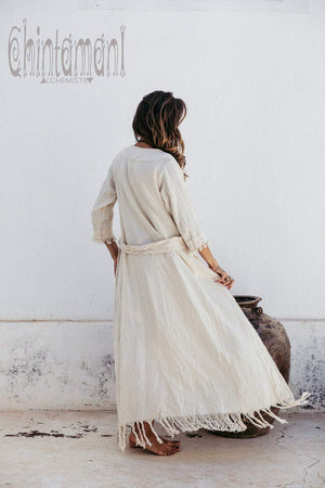 Organic Long Cardigan Robe 3/4 Sleeves / Off White - ChintamaniAlchemi