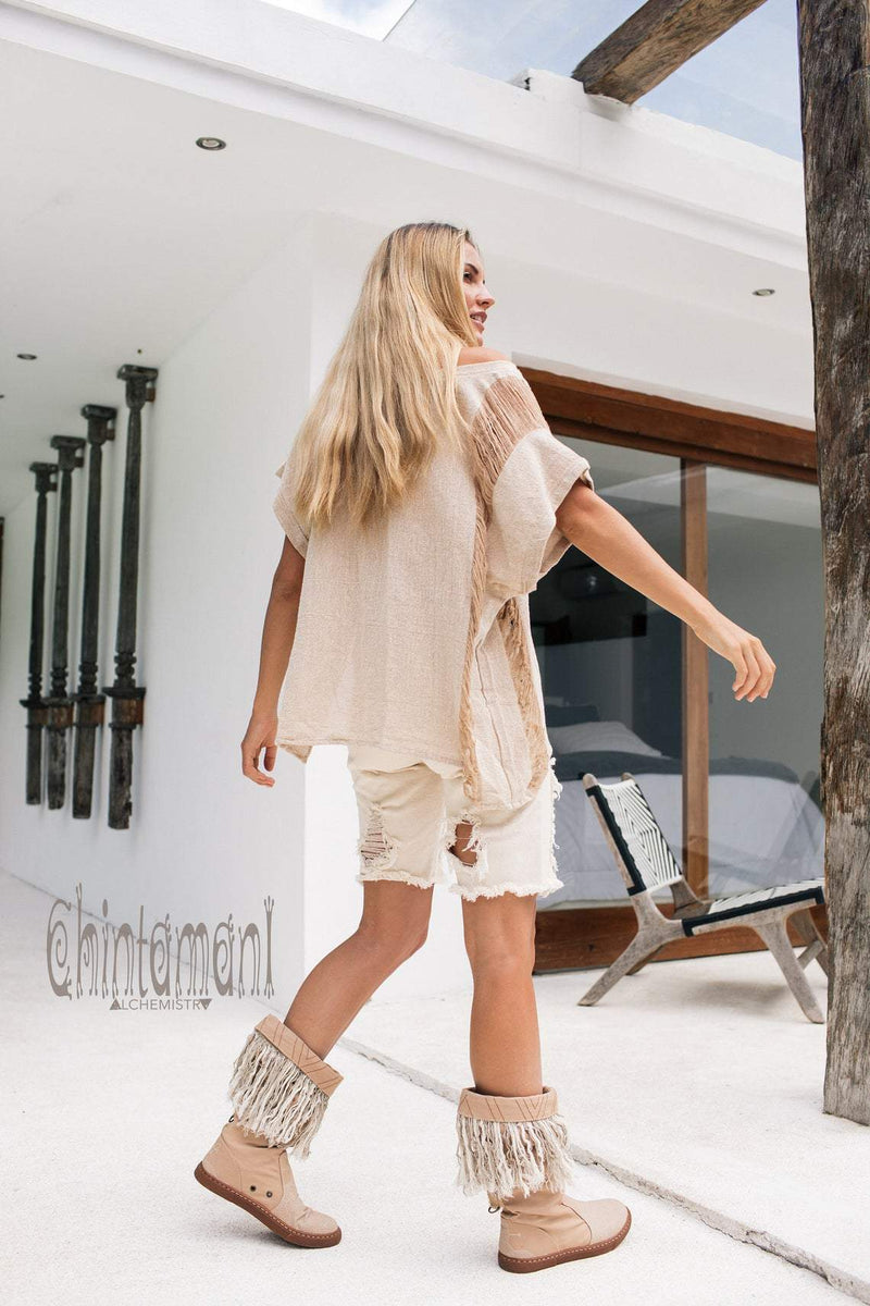 Oversized Raw Cotton Boho Top / Ripped Tshirt / Beige - ChintamaniAlchemi