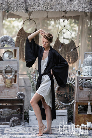 Pure Silk Kimono Cardigan for Woman / Natural Silk Wrap Robe with Belt / Black - ChintamaniAlchemi