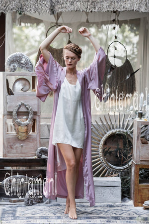 Pure Silk Kimono Cardigan for Woman / Natural Silk Wrap Robe with Belt / Pink - ChintamaniAlchemi