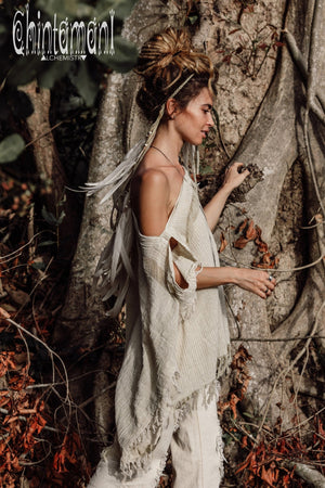 Raw Cotton Bohemian Poncho Top / Off Shoulder / Beige & White - ChintamaniAlchemi