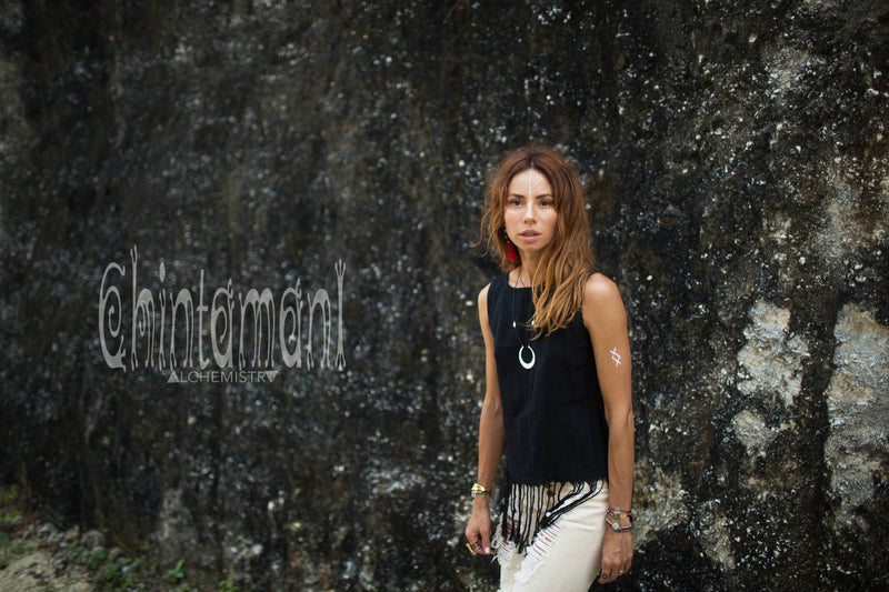 Raw Cotton Fringe Tank Top / Hand Processed Organic Eco Top / Black - ChintamaniAlchemi