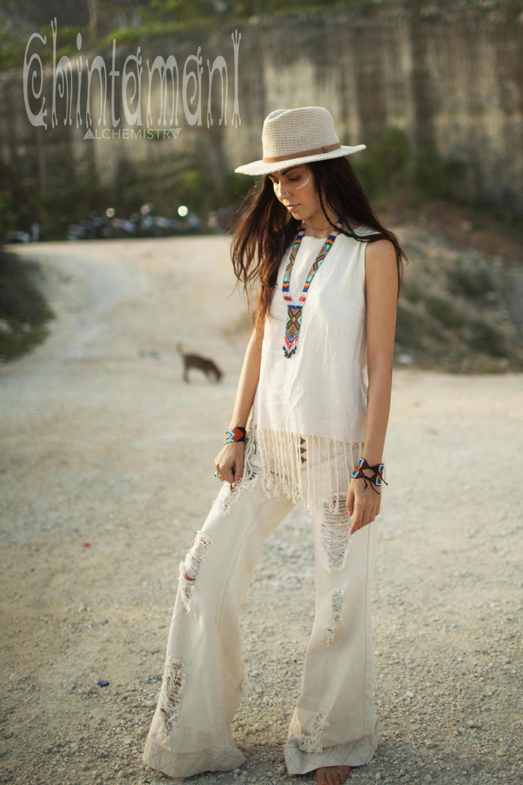 Raw Cotton Fringe Tank Top / Hand Processed Organic Eco Top / Off White - ChintamaniAlchemi
