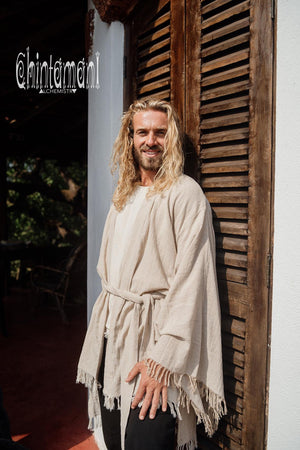 Raw Cotton Kimono Robe / Cardigan for Men / Beige - ChintamaniAlchemi