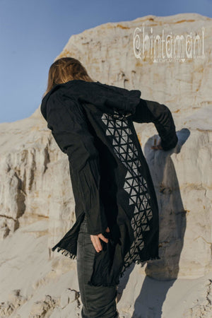 Raw Cotton Long Hooded Shirt Cardigan for Men / Aroha Atua / Black - ChintamaniAlchemi