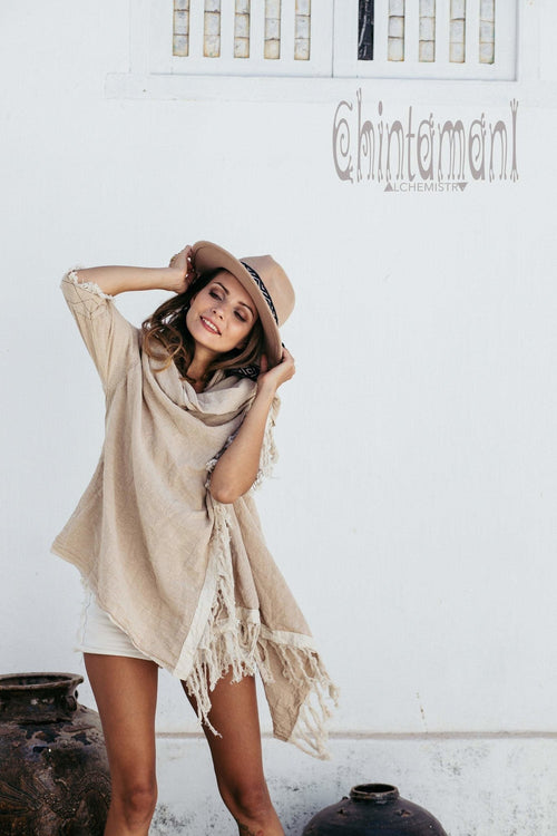 Raw Cotton Sleeves Shawl Cardigan / Boho Wrap Cloak / Beige - ChintamaniAlchemi