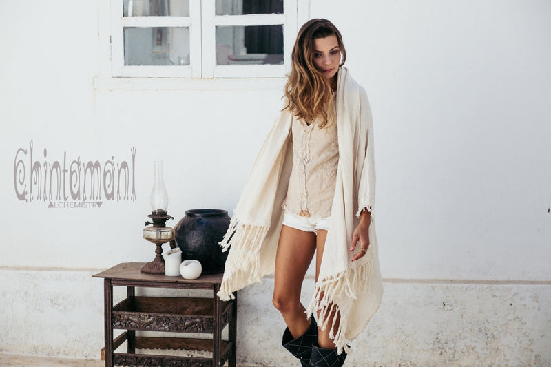 Raw Cotton Sleeves Shawl Cardigan / Boho Wrap Cloak / Off White - ChintamaniAlchemi