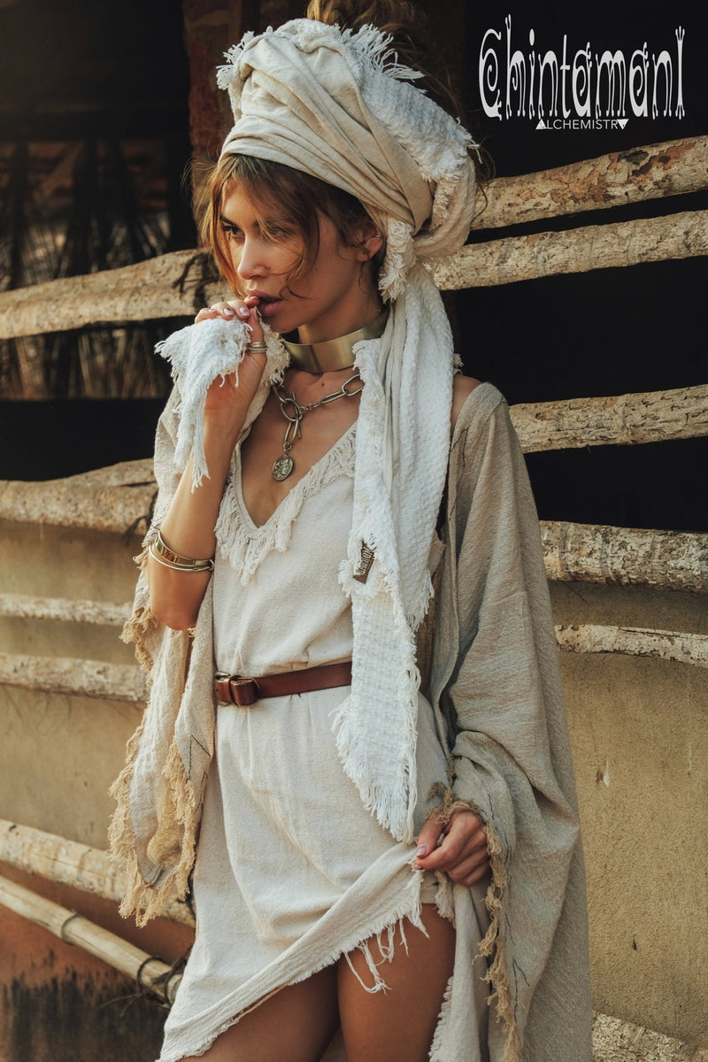 Raw Cotton Triangle Gypsy Shawl / Boho Scarf / Off White - ChintamaniAlchemi