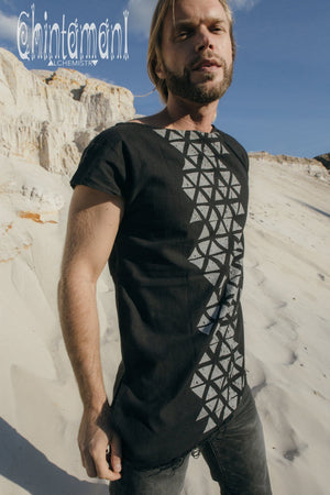 Raw Cotton Vegan Men T-shirt with Geometric Screen Print / Black - ChintamaniAlchemi