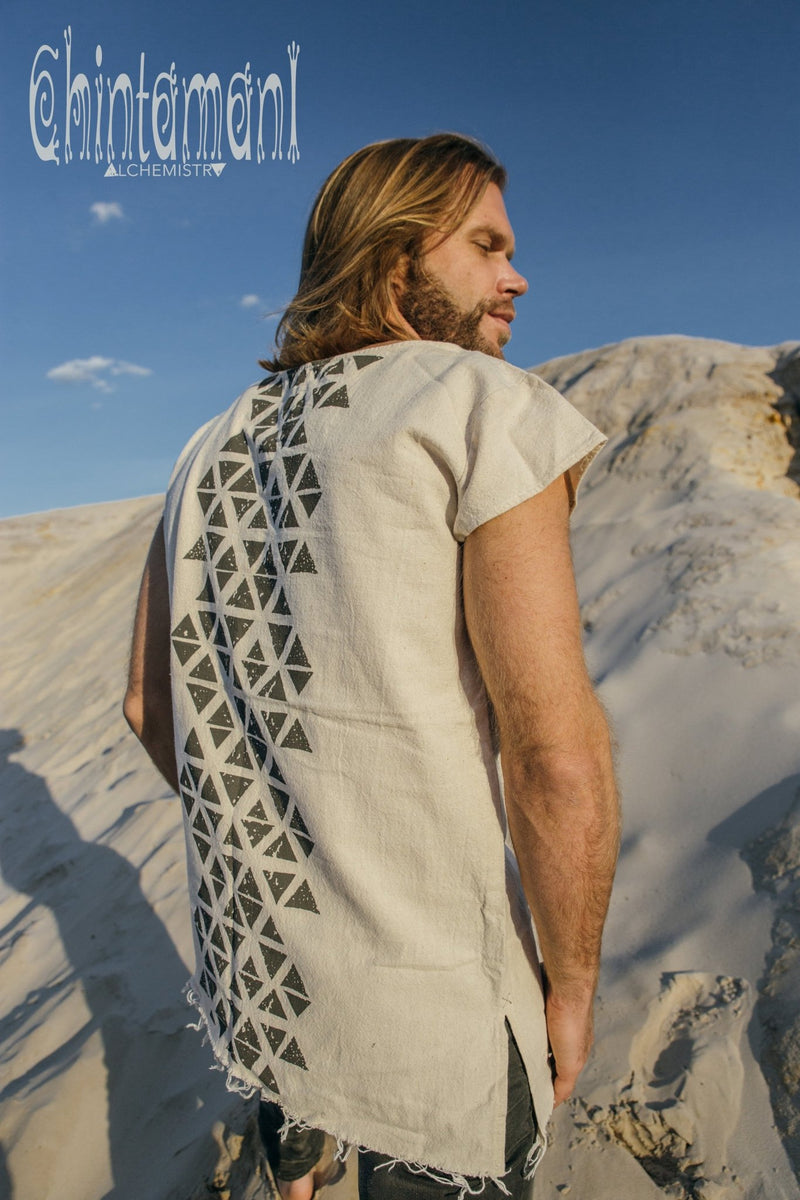 Raw Cotton Vegan Men T-shirt with Geometric Screen Print / Off White - ChintamaniAlchemi