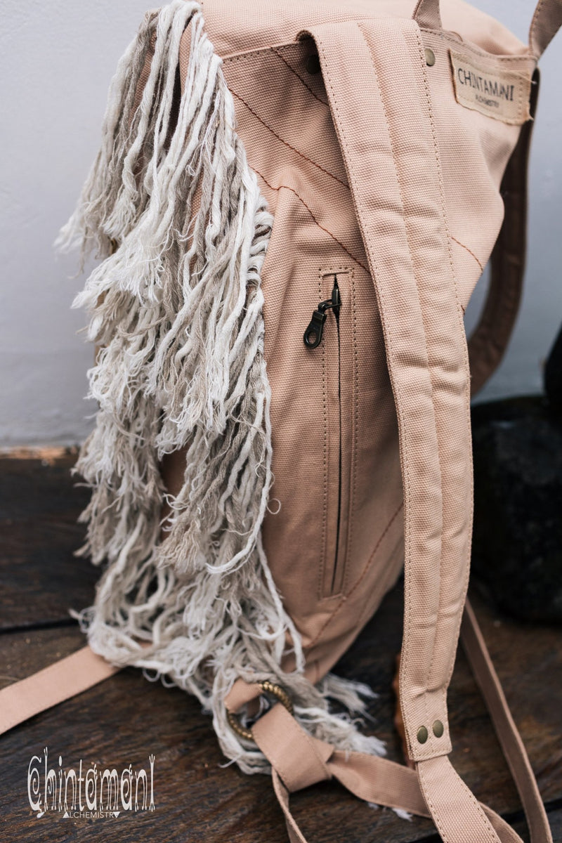 Rolltop Boho Canvas Backpack for Women with Linen Fringes ∆ Roll Top Laptop Backpack / Beige - ChintamaniAlchemi