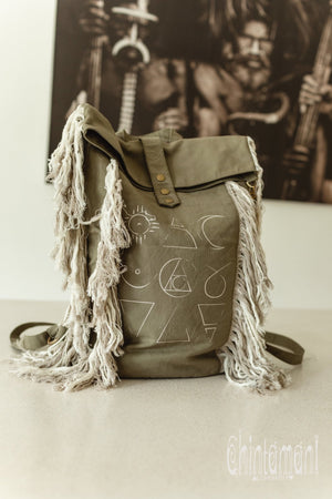 Rolltop Boho Canvas Backpack for Women with Linen Fringes ∆ Rolltop Laptop Backpack / Army Green - ChintamaniAlchemi