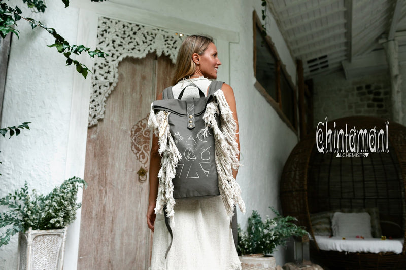 Rolltop Boho Canvas Backpack for Women with Linen Fringes ∆ Rolltop Laptop Backpack / Dark Gray - ChintamaniAlchemi