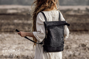 Rolltop Flat Laptop Backpack of Cotton Canvas with Shipibo Print / Black - ChintamaniAlchemi