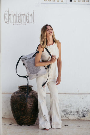 Rolltop Flat Laptop Backpack of Cotton Canvas with Shipibo Print / Light Grey - ChintamaniAlchemi