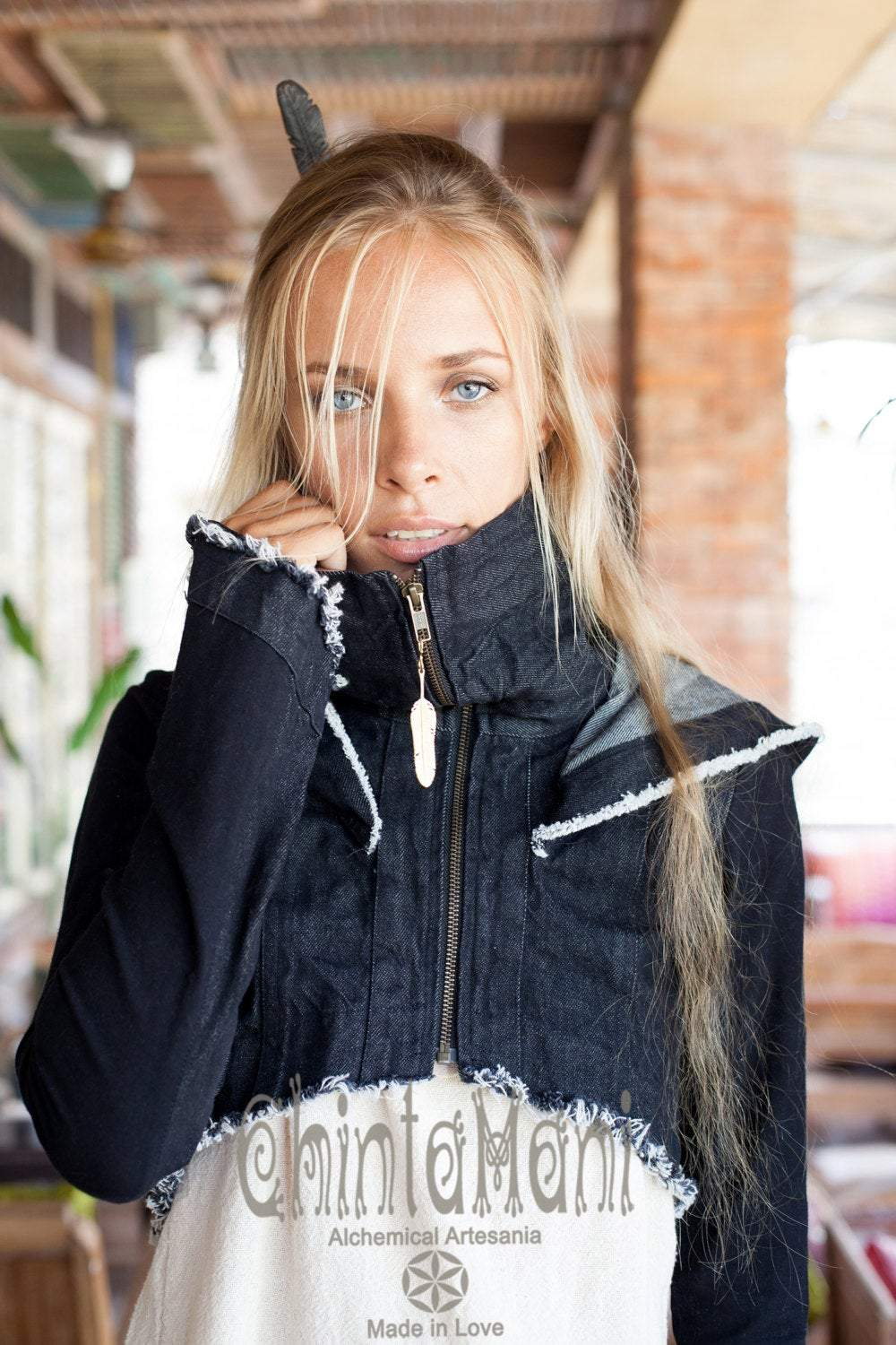 Short Boho Bolero Vest Jacket with Cowl Neck & Hood of Soft Cotton Denim / Black - ChintamaniAlchemi