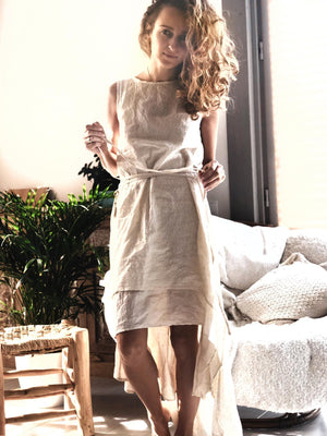 Soft Cotton Ibiza Boho Dress - Double Layer / Off White - ChintamaniAlchemi