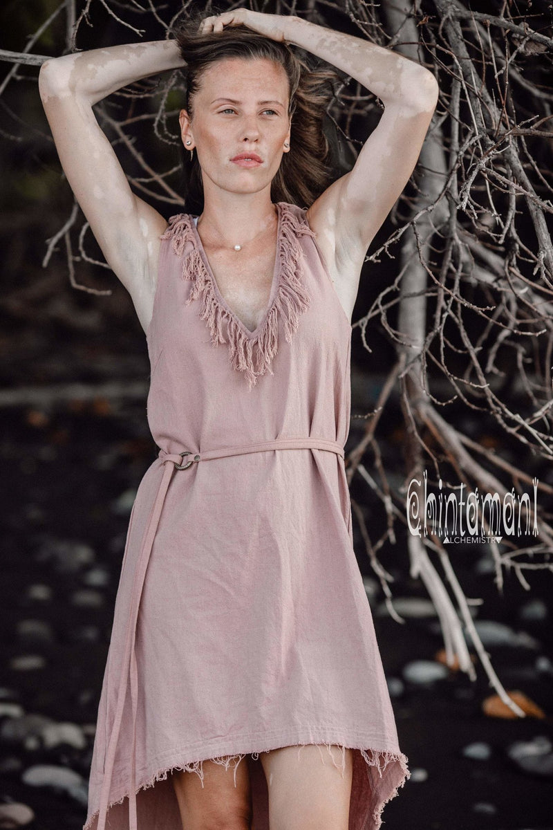 Vneck Raw Cotton Mini Tunic Dress with Belt and Fringes / Dusty Rose - ChintamaniAlchemi