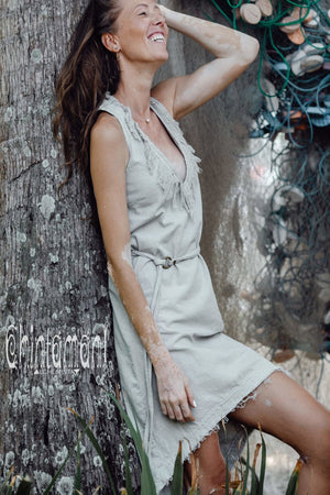 Vneck Raw Cotton Mini Tunic Dress with Belt and Fringes / Grey - ChintamaniAlchemi