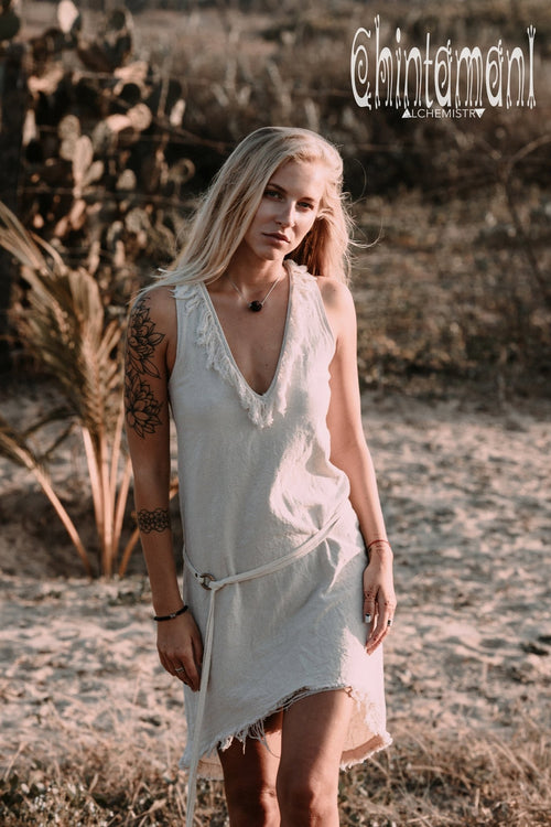 Vneck Raw Cotton Mini Tunic Dress with Belt and Fringes / Off White - ChintamaniAlchemi