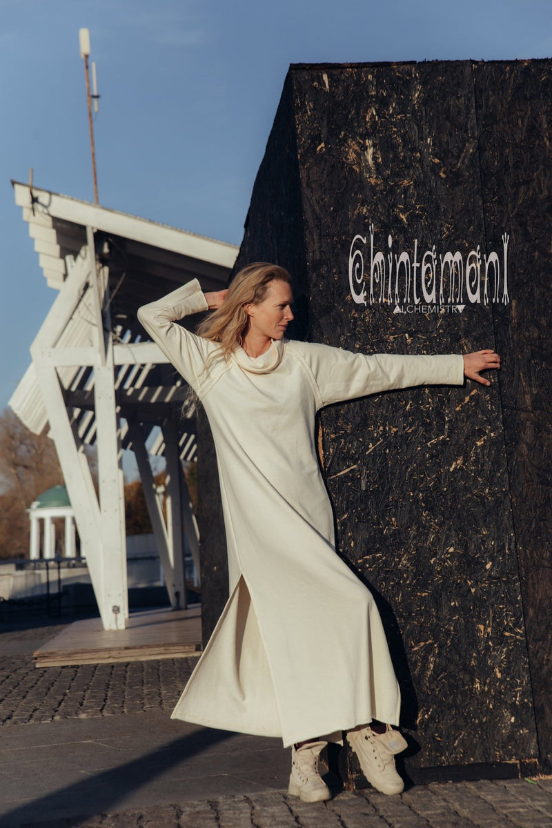 Warm Sweatshirt Maxi Dress with Cowl Neck and Side Slit / White - ChintamaniAlchemi