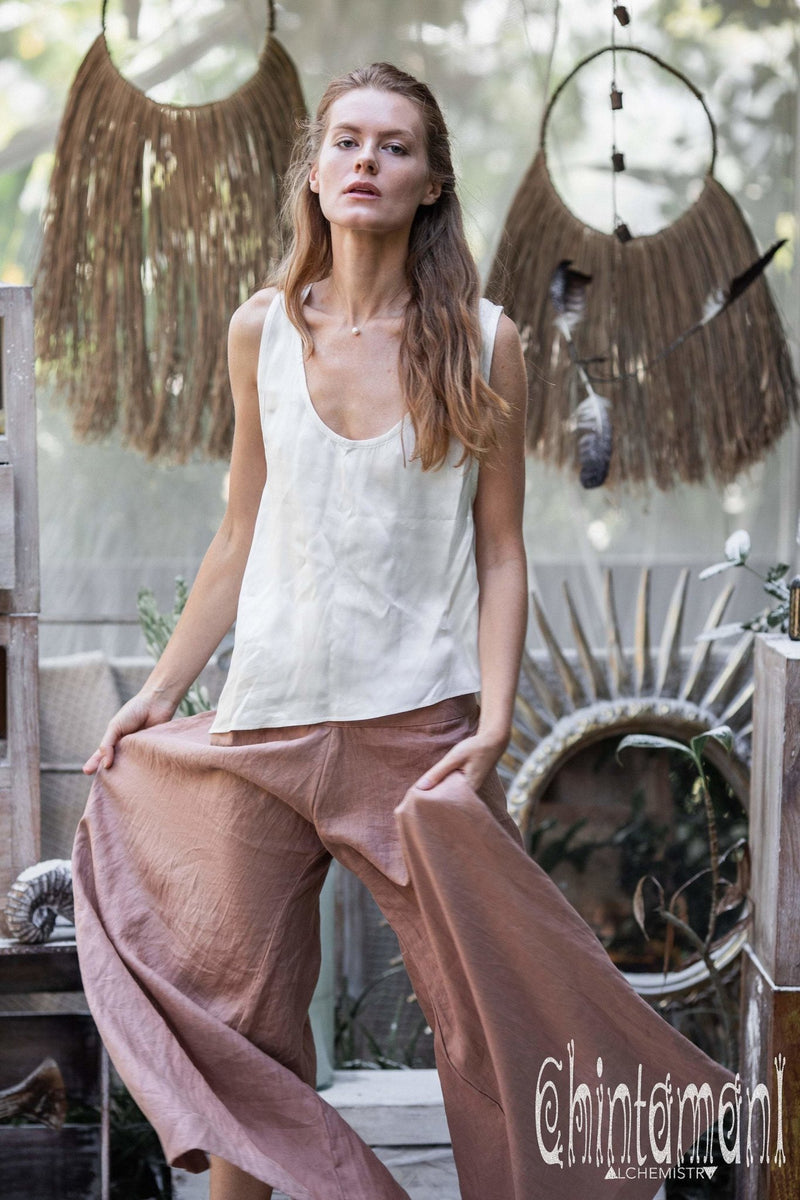 Women Linen Flare Slit Pants / Long Lounge Trousers / Dusty Pink - ChintamaniAlchemi