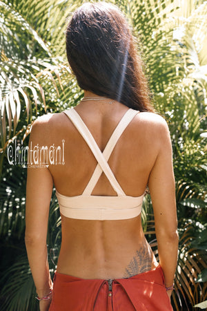 Yoga Bra Top / Cotton Sport Halter Top by Chintamani / Beige - ChintamaniAlchemi