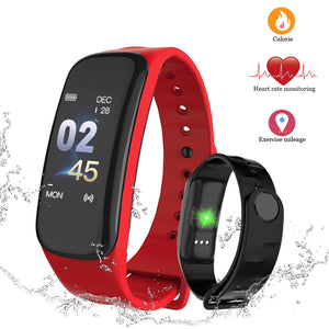 Fitness Tracker Watch C1 plus Smart Band Waterproof Heart Rate Monitor Blood Pressure Smart Band health Bracelet Smart Wristband