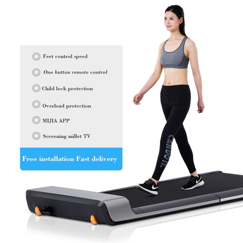 indoor mini treadmill fitness for home without handrail electrical mute smart foldable walking machine body building Equipment