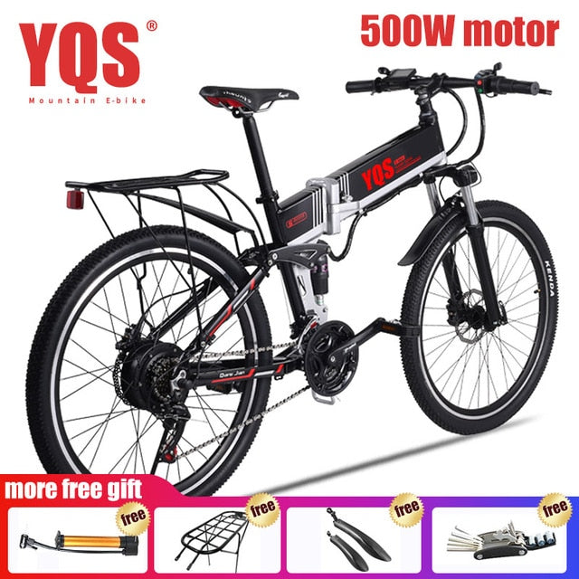 YQS Electric Bike  500W 110KM 21Speed 40km/h battery ebike electric 26