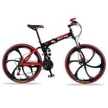 "Load image into Gallery viewer, wolf's fang Bicycle Mountain Bike 21 speed 26""inch Folding bike Road bike Double disc brakes folding  mtb Fat Snow beach bicycle"